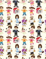 cartoon family seamless pattern