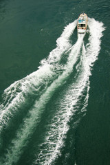 view from above a small water craft