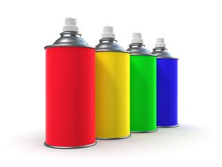 3d Rainbow spraycans