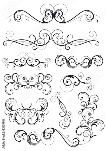 Set di decorazioni classiche con fiori foglie e spirali - Decorazioni vintage ...