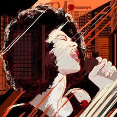 Photo sur Aluminium Art Studio jazz singer on grunge background