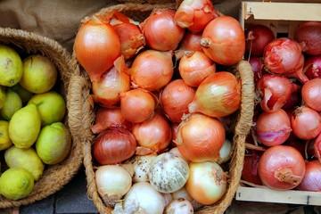fruits and vegetables market shop onion and lemon basket