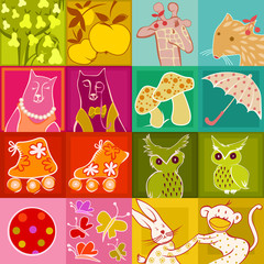 multicolor set of doodle animals and fun objects
