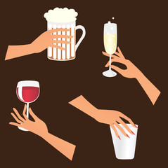 Set of hands holding drinks