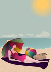 young woman resting under a beach umbrella