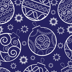 Christmas and New Year seamless background with balls