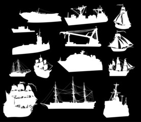 large set of white ship silhouettes