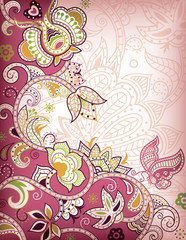 Pink Floral and Butterfly