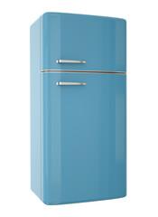 Blue refrigerator. 3D render.