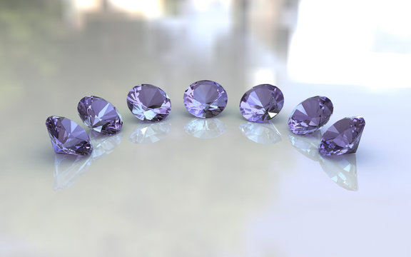 Set of seven round lavender amethyst stones