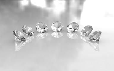 Set of seven round brilliant diamonds
