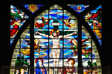 Colorful Stained Glass window showing Jesus Christ