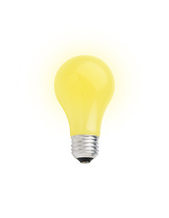 Yellow lightbulb isolated on white [with clipping path]