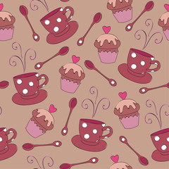 Seamless wallpaper with cup and muffin