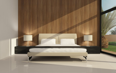 3d interior bedroom with wooden wall and sun hitting from right