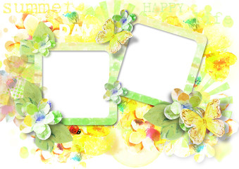 Beautiful card for photo with butterflies and flowers