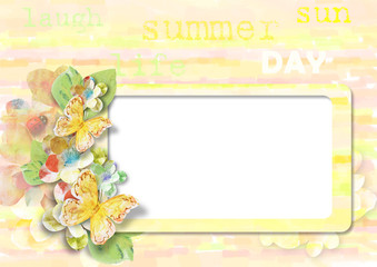 Summer card with butterflies