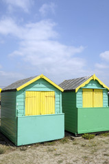 Beach huts by the sea at Littlehampton in Sussex
