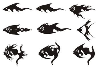 Black fish icons. Black on the white