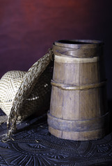 small barrel with hat