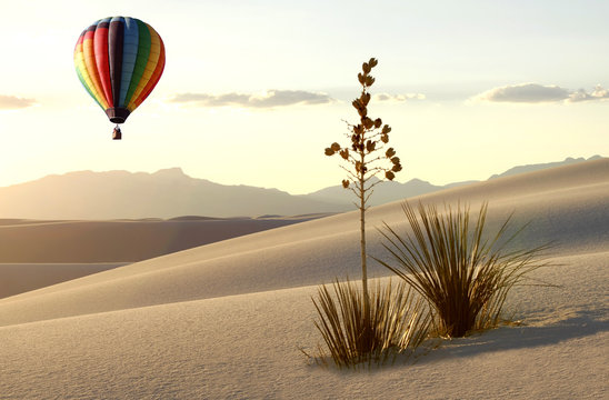 Hot Air Balloon Over the Dunes of White Sands at Sunrise