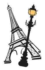 Eiffel Tower with Street Light