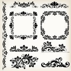 vector vintage floral elements
