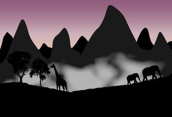 Paisaje de la selva con silueta de animales