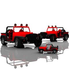 Zwei rote Geändewagen und ein Spielzeugauto