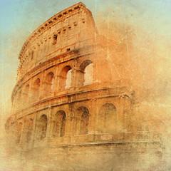 Poster Rome great antique Rome - Coloseum , artwork in retro style