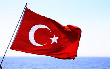 Image of Turkish flag over sea