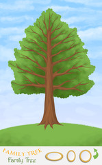 family tree on green hill and blue sky, frame templates