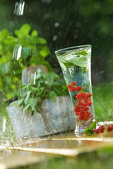 Fresh water with red currant