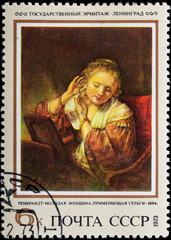 Postal stamp. Portrait woman, 1654.