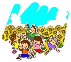 子供 夏 ひまわり イラスト