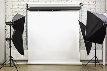 White background inside studio - light room with lamps