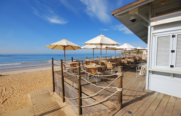 wooden terrace on sea coast(Algarve,Portugal)
