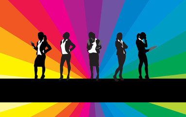 business women on a rainbow background
