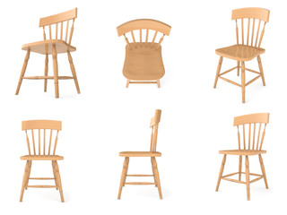 cadeiras de madeira em diferentes angulos