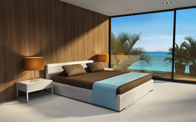 3d interior exotic modern hotel bedroom with sea view