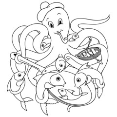 Polpo Piovra e Pesci Cartoon-Octopussy and Fishes-Vector