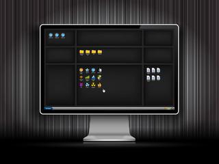 Dark desktop background with shelfs