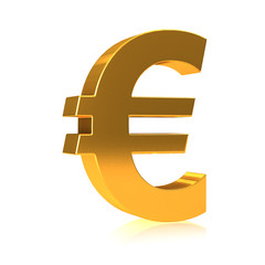 3d Euro currency symbol in gold