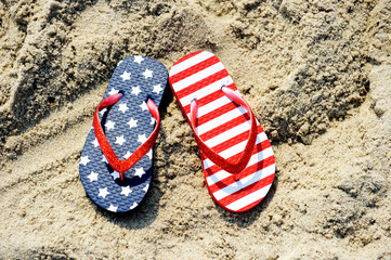 Flip-flops with USA flag pattern on them