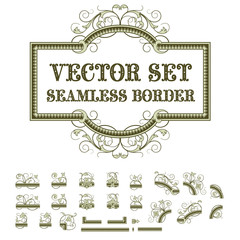 set of plant elements for creating borders and frames