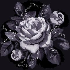 Vintage monochrome rose