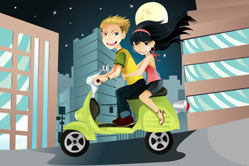 Keuken foto achterwand Motorfiets Couple riding motorcycle