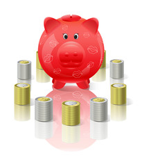 Piggy moneybox with money