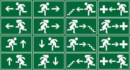 Green emergency exit sign, icon and symbol set Wall mural
