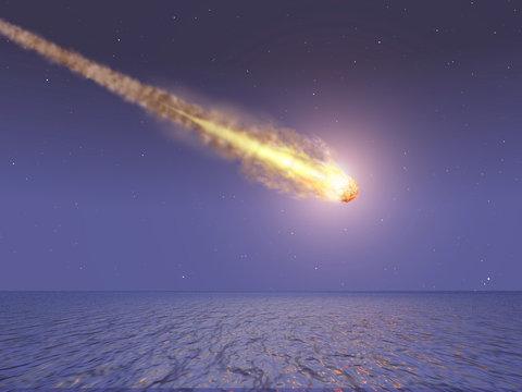 meteorito cayendo en el mar